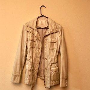 Jackets & Blazers - Imitation leather cream jacket